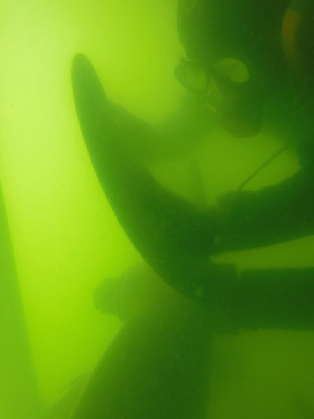 Boat hull cleaning. Treasure Island Florida