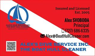 Business Card of Alex at Alex's Dive Service Inc. Dunedin